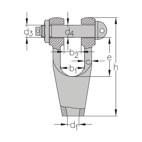 Open spelter socket volgens vroegere DIN 83313 vorm C vrijstaand